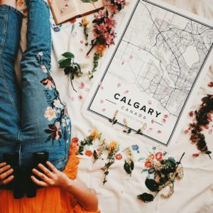 White map poster of Calgary, Canada