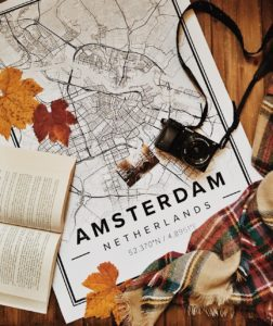 White map poster of amsterdam, netherlands