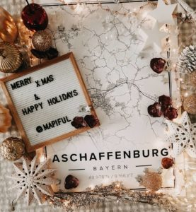 White christmas map poster of Aschaffenburg, Germany