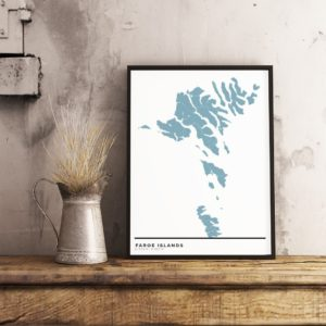 Blue map poster of the Faroe Islands
