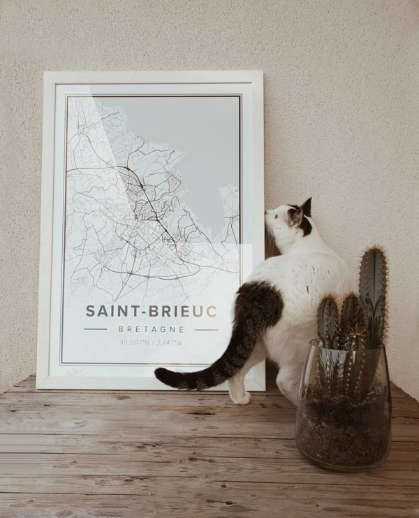 White map poster of Saint-Brieuc, France