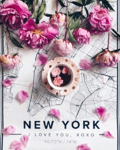 Romantic map poster of New York, United States