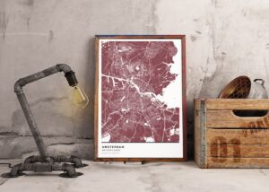 Red map poster of Amsterdam, The Netherlands