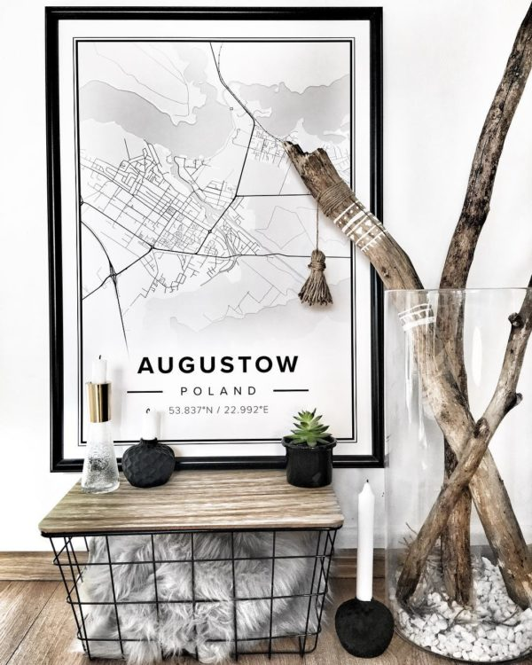 White map poster of Augustow, Poland