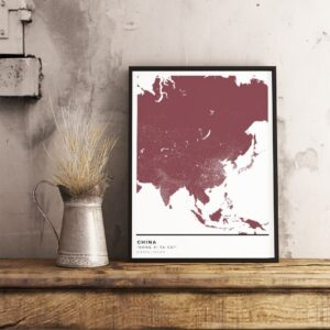 Red map poster of China