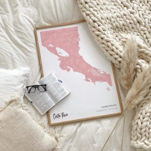 Pink map poster of Costa Rica