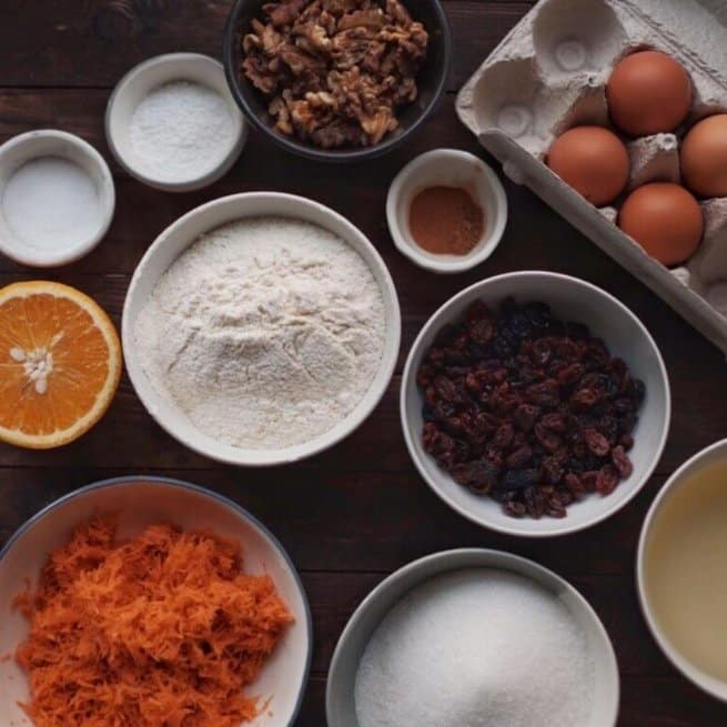 Mother's Day Carrot Cake ingredients laid out on a table