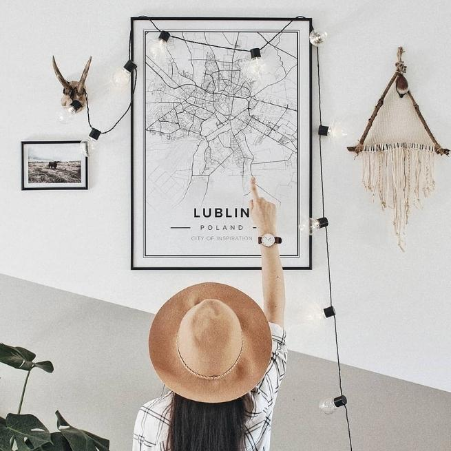 white map poster of lublin, poland