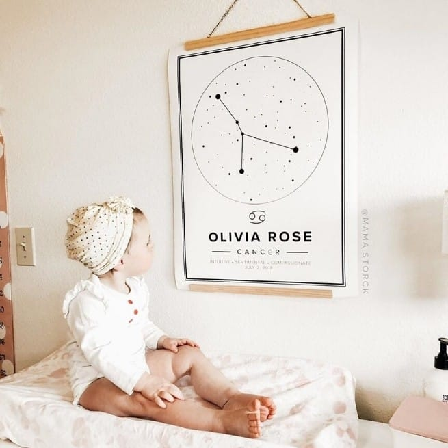modern zodiac sign poster of cancer for nursery