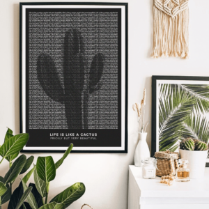 Text art poster of life is like a cactus