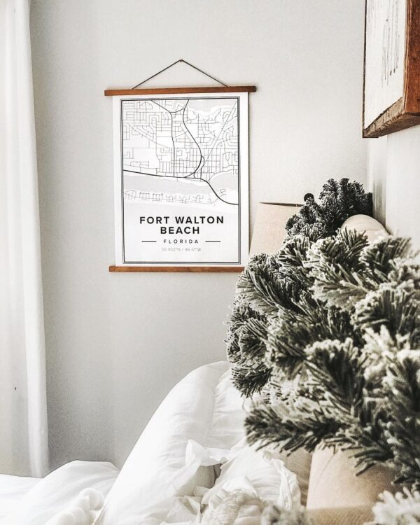 White map poster of Fort Walton Beach