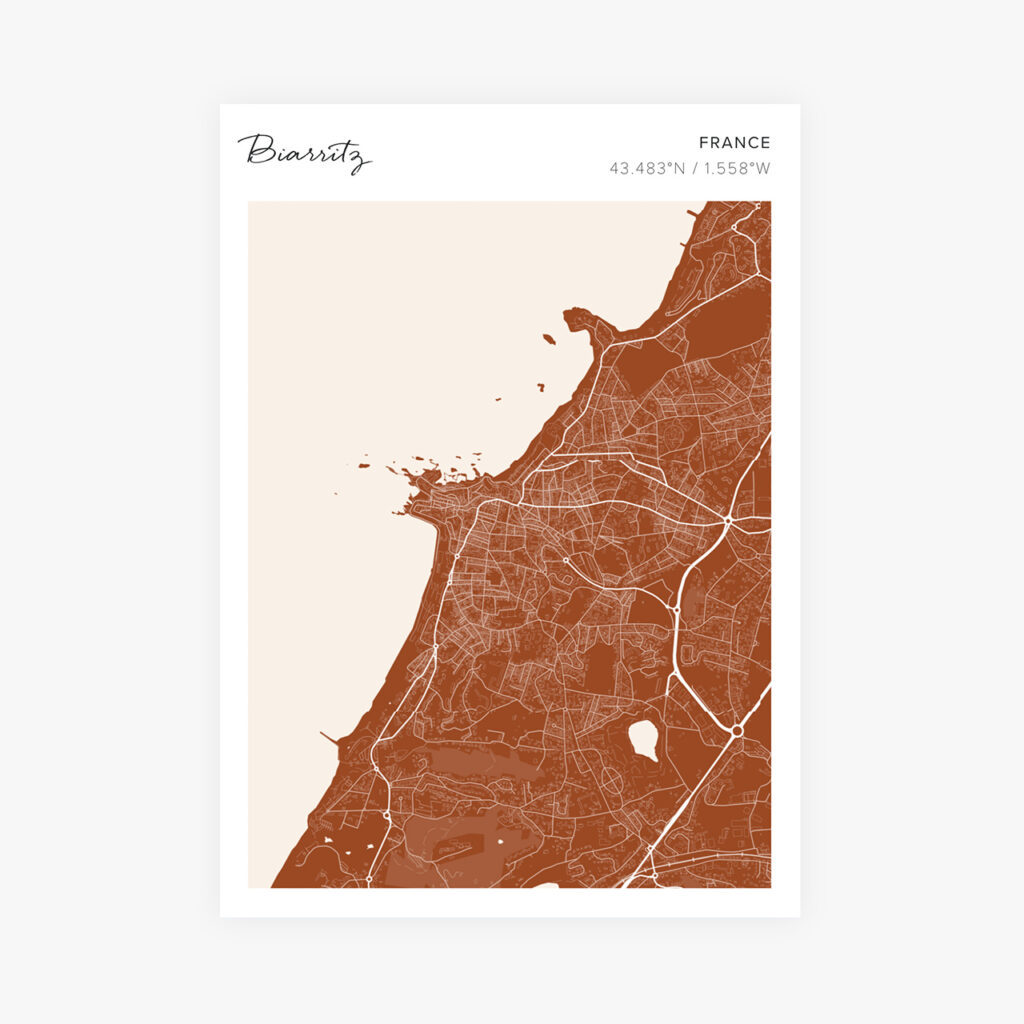 Customizable Street Map Print of Biarritz