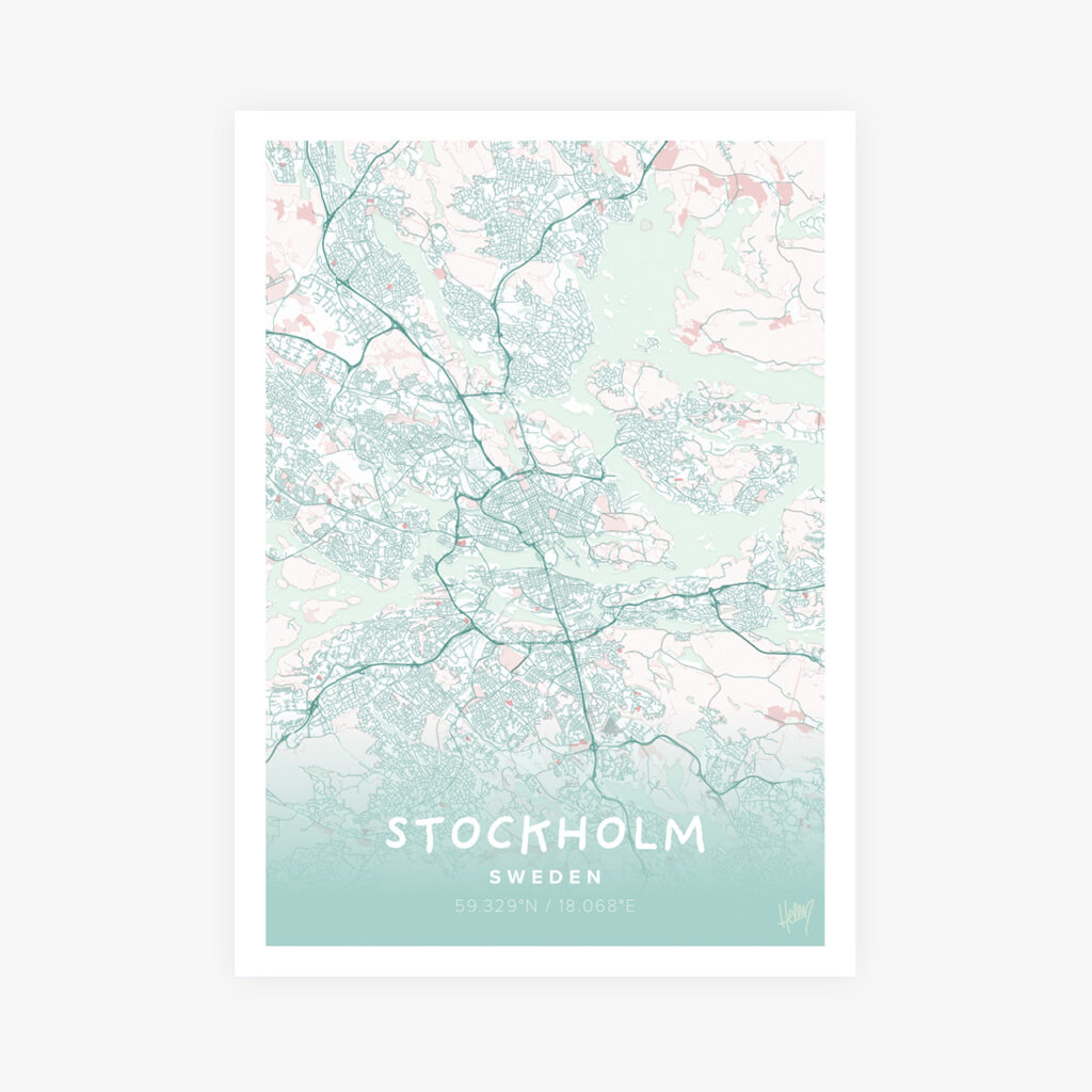 Customizable Street Map Print of Stockholm