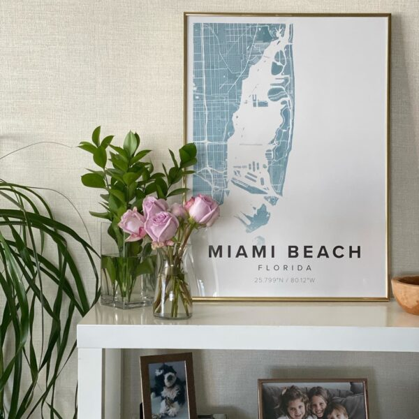 Blue map poster of Miami Beach, Florida, United States