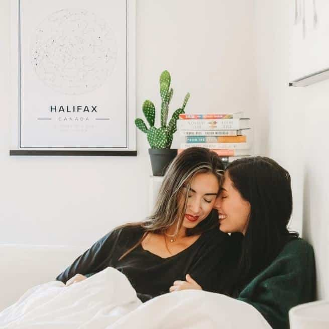 modern star map poster of the city of halifax, Canada, above a couple that create connection with their partner