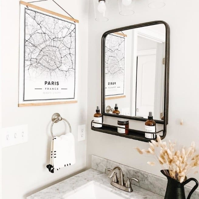 Modern streetmap poster of paris, france, in a small bathroom