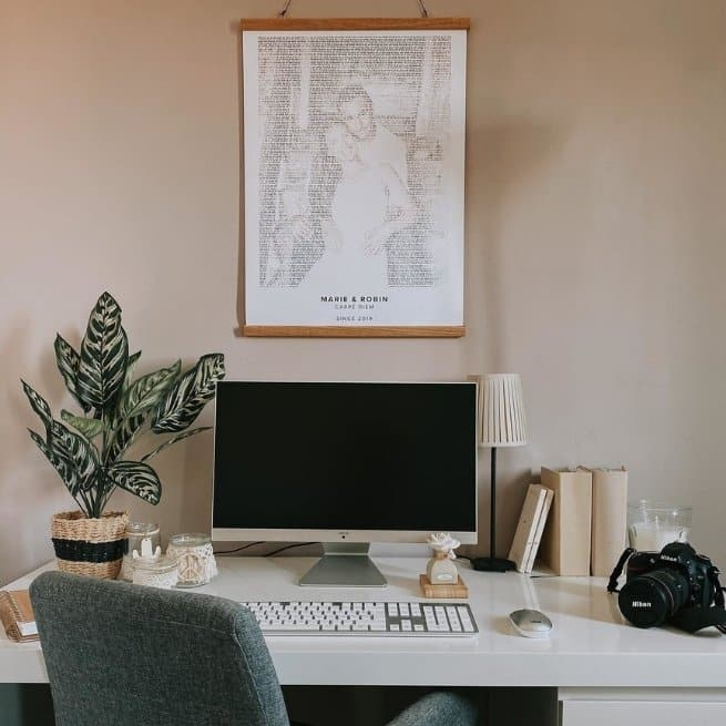 Work-From-Home Office grow indoor plants text art mapiful