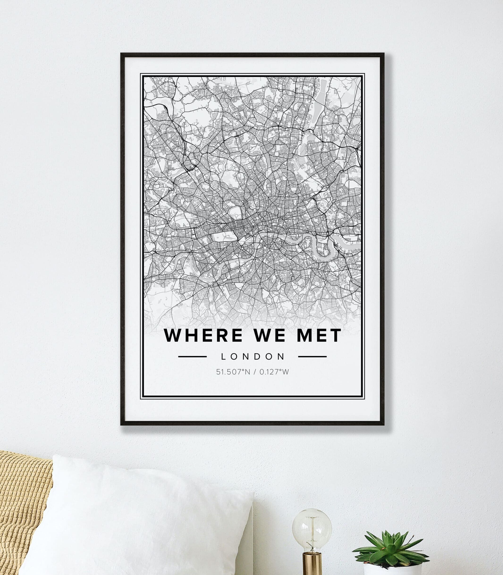 Customizable Street Map Print of London where we met