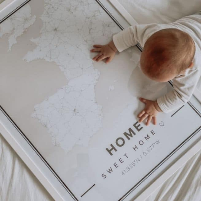 white mom to be map poster of home