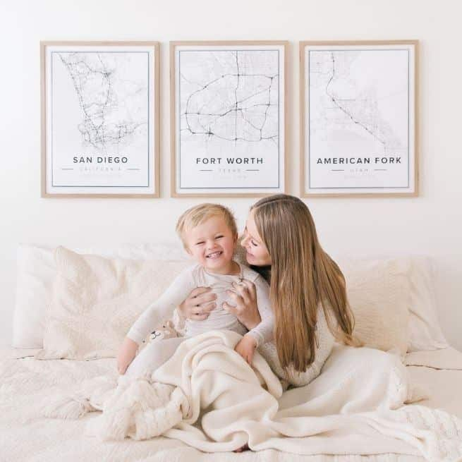 Mother's Day poster gifts - map posters of san diego, fort worth and american fork, united states