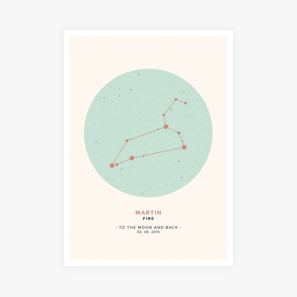 Nautical Leo constellation map poster