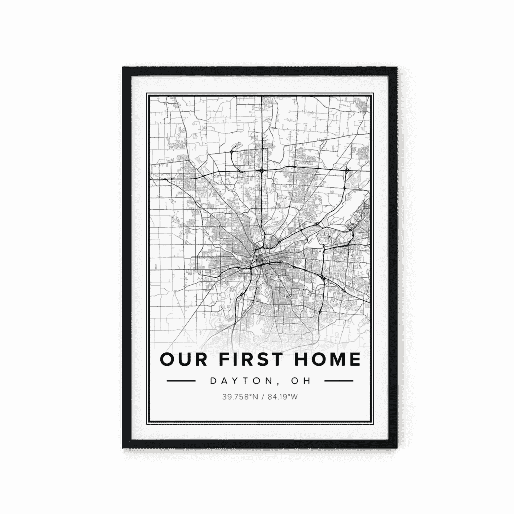 modern map poster of dayton, united states