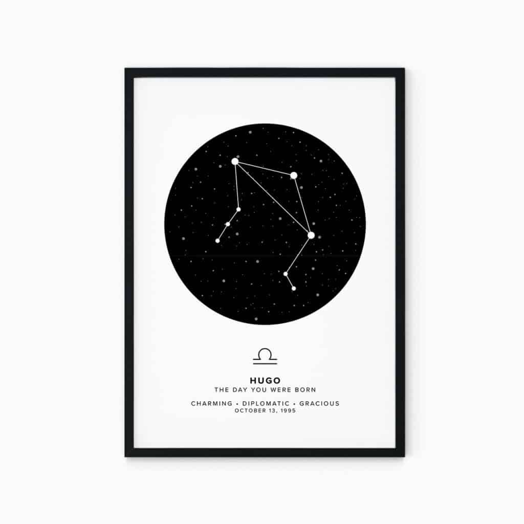 bright zodiac poster of libra