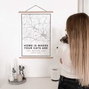 white map poster of home