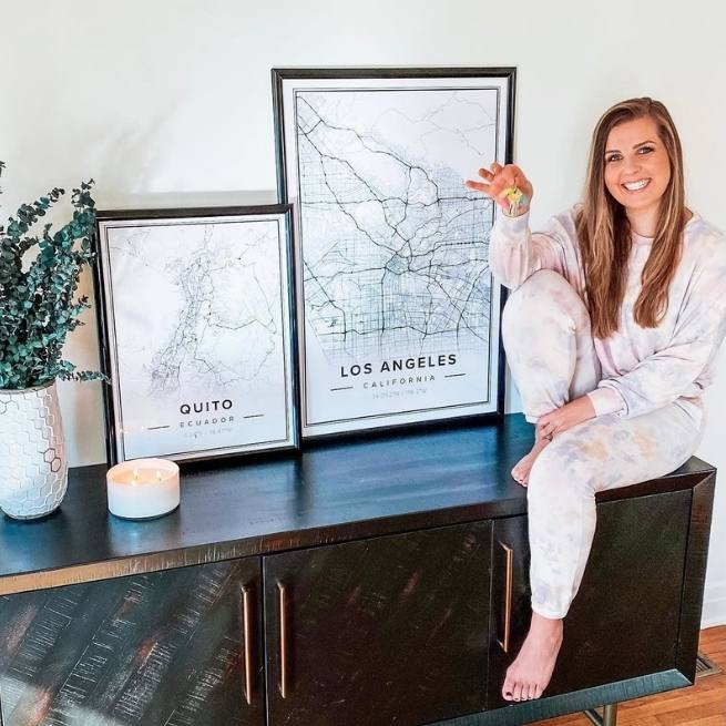 white map poster of los angeles, california