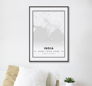 Modern map poster of india