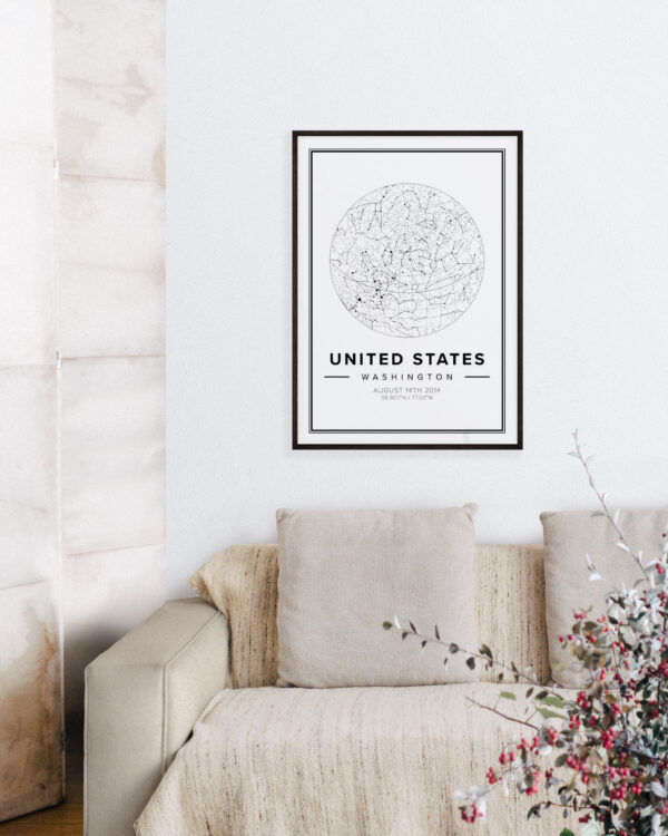 white star map poster of the United States