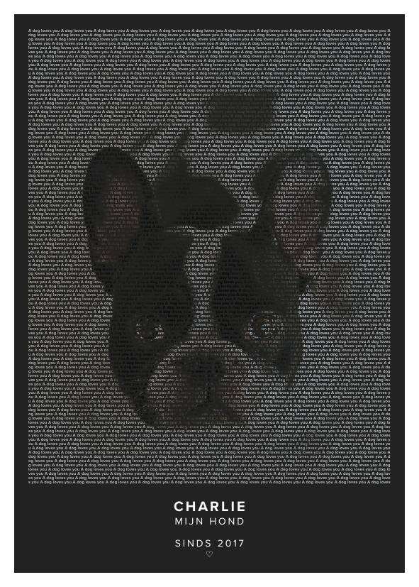 text art poster of a dog