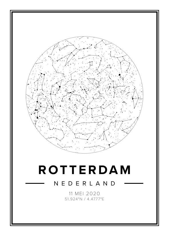 white star map poster of rotterdam, the netherlands