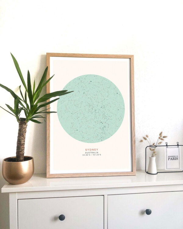 nautical star map poster of Sydney