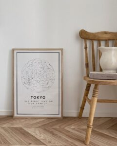 white star map poster of Tokyo
