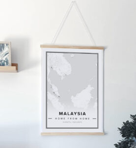 white map poster of Malaysia