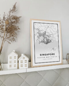 white poster map of Singapore