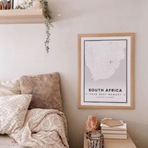 White map poster of South Africa